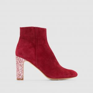 Ботинки велюровые Anouk, блестящий каблук MELLOW YELLOW. Цвет: бордовый