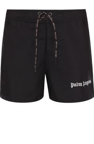 Плавки-шорты с контрастной отделкой Palm Angels. Цвет: черный
