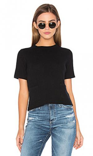 Прямая футболка в рубчик Autumn Cashmere. Цвет: черный