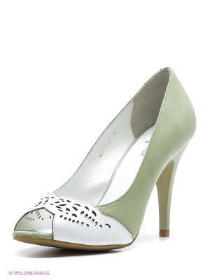 Туфли Moda Donna. Цвет: зеленый, белый