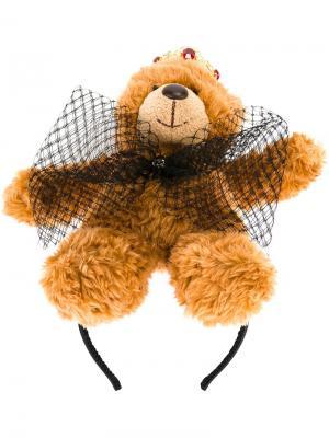 Ободок для волос с аппликацией плюшевого медведя Dolce & Gabbana. Цвет: коричневый