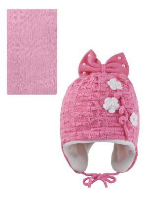 Шапка, шарф Pro-han. Цвет: бледно-розовый, белый