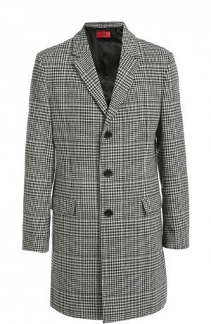Шерстяное пальто в клетку Prince of Wales HUGO. Цвет: черно-белый