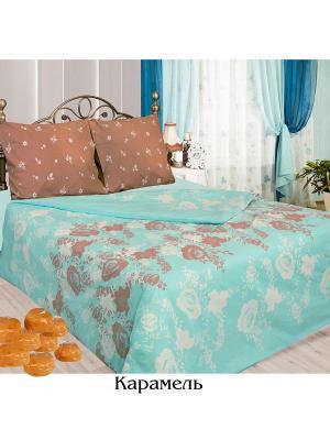 Постельное белье Евро простыня на резинке Sova and Javoronok. Цвет: голубой, белый, коричневый
