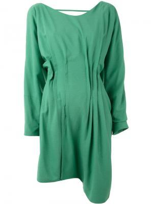 Платье с асимметричным подолом Eckhaus Latta. Цвет: зелёный