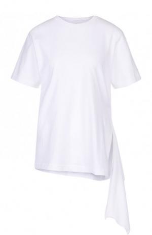Хлопковая футболка асимметричного кроя Citizens Of Humanity. Цвет: белый