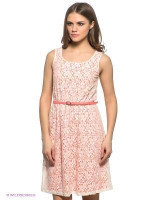 Платье SELA. Цвет: белый, светло-коралловый