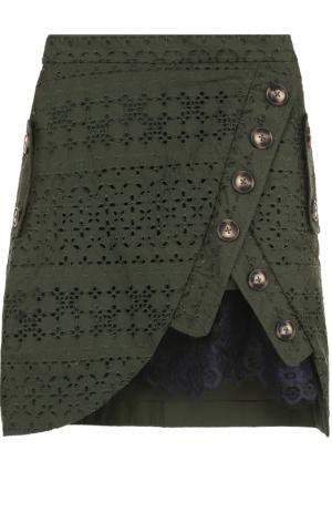 Мини-юбка с кружевной отделкой self-portrait. Цвет: зеленый
