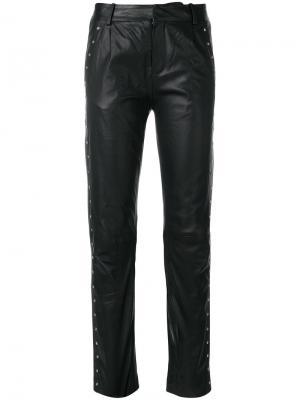 Свободные кожаные брюки Just Female. Цвет: чёрный