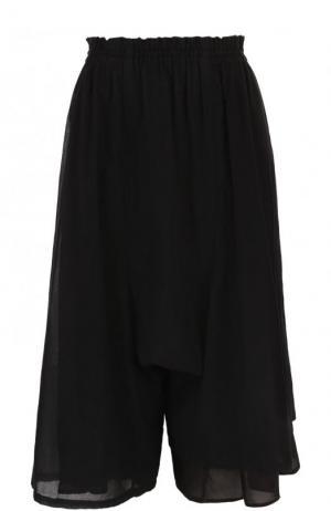 Укороченные однотонные брюки из хлопка Yohji Yamamoto. Цвет: черный