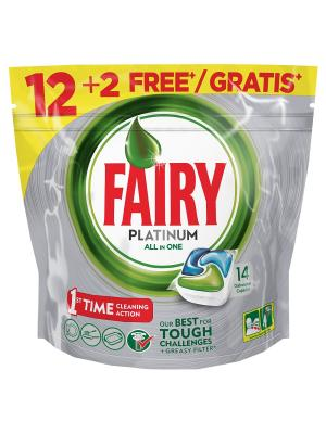 Средство для мытья посуды в капсулах посудомоечных машин Platinum 12+2шт бесплатно Fairy. Цвет: зеленый, серебристый, белый
