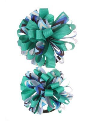 Банты из ленты на резинке с разноцветными полосками в стрелку, зеленый, набор 2 шт Радужки. Цвет: зеленый