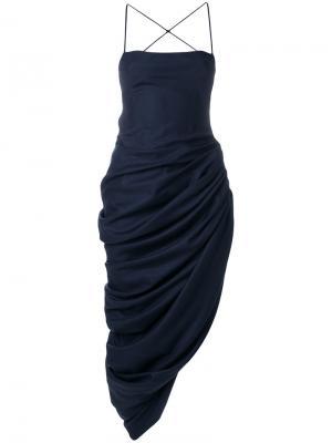 Асимметричное платье на бретельках Jacquemus. Цвет: синий