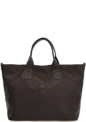 Вместительная кожаная сумка с дополнительным плечевым ремнем Io Pelle. Цвет: коричневый