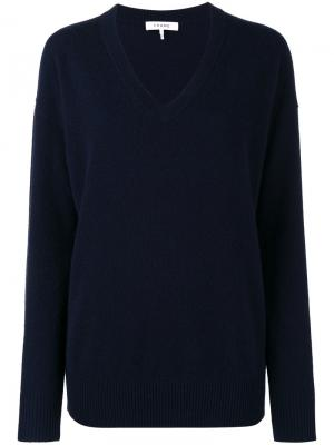 Трикотажный свитер с V-образным вырезом Frame Denim. Цвет: синий