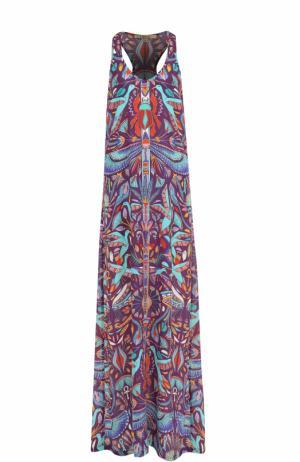 Шелковое платье-макси с принтом Lazul. Цвет: разноцветный