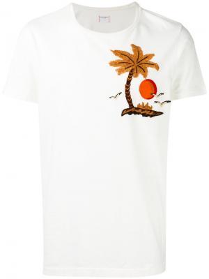 Футболка с вышивкой пальмы Htc Hollywood Trading Company. Цвет: белый