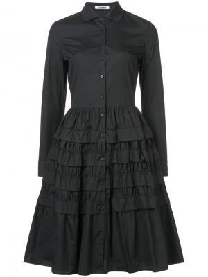 Платье-рубашка с ярусами оборок Jourden. Цвет: чёрный