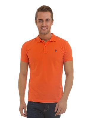 Футболка-поло U.S. Polo Assn.. Цвет: оранжевый, голубой