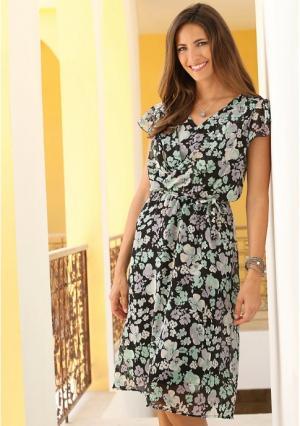 Платье Maria Bellesi. Цвет: лавандовый, черный с рисунком