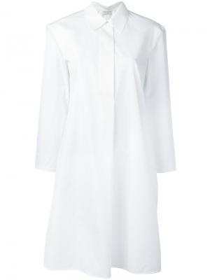 Платье-рубашка с укороченными рукавами Veronique Leroy. Цвет: белый