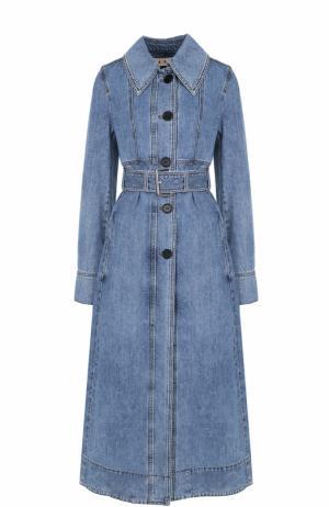 Джинсовое пальто с отложным воротником и поясом Marni. Цвет: голубой