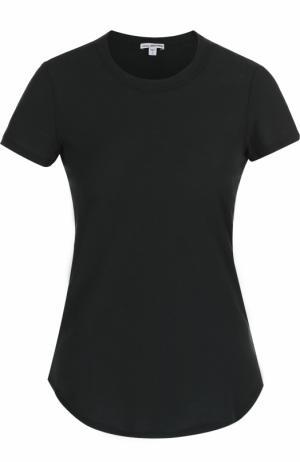 Хлопковая футболка с круглым вырезом James Perse. Цвет: хаки
