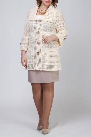 Жакет Текстильная Мануфактура. Цвет: бежевый
