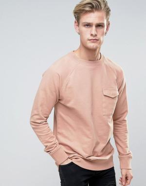 Another Influence Трикотажный джемпер с карманом. Цвет: розовый