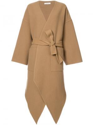 Кашемировое асимметричное пальто JW Anderson. Цвет: коричневый