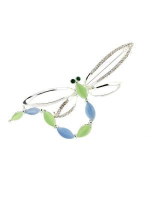 Брошь Bijoux Land. Цвет: серебристый, зеленый, голубой