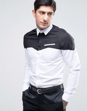 Rogues of London Приталенная ковбойская рубашка со вставкой. Цвет: белый