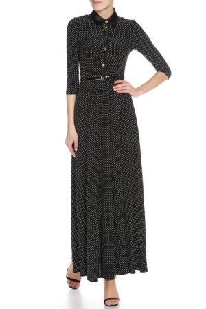Платье длинное Строгое Alina Assi. Цвет: черный, белый горох
