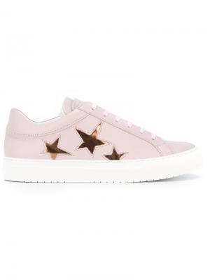 Кроссовки на шнуровке с принтом звезд Nubikk. Цвет: розовый и фиолетовый
