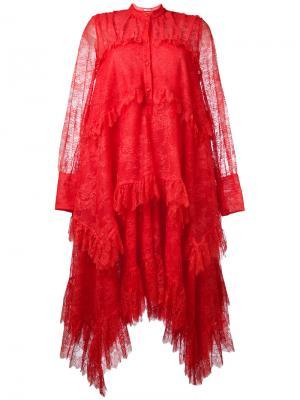 Long sleeve lace dress Erdem. Цвет: красный