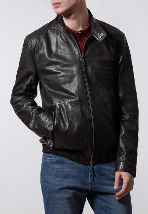 Куртка кожаная Finn Flare. Цвет: черный