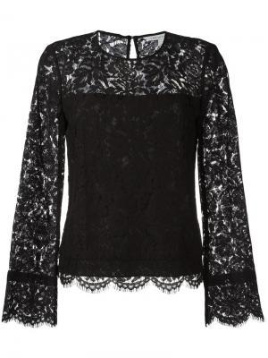 Блузка с кружевной отделкой Dvf Diane Von Furstenberg. Цвет: чёрный