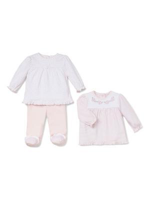 Комплект из 3-х предметов Сердечки Little Me. Цвет: белый, розовый