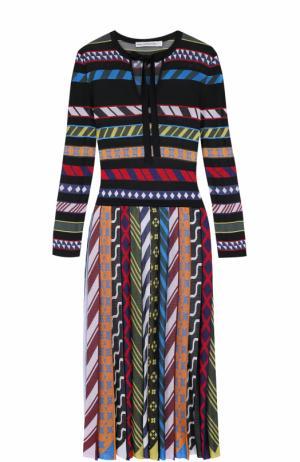 Приталенное платье-миди с плиссированной юбкой Mary Katrantzou. Цвет: разноцветный