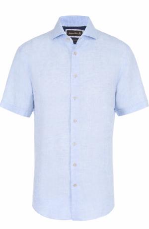 Льняная рубашка с короткими рукавами Jacques Britt. Цвет: голубой