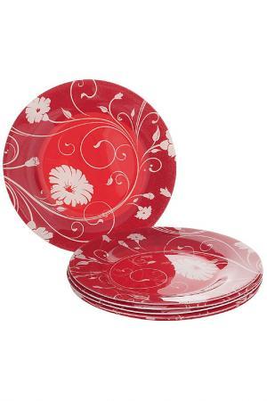 Тарелка, 6 шт Pasabahce. Цвет: красный