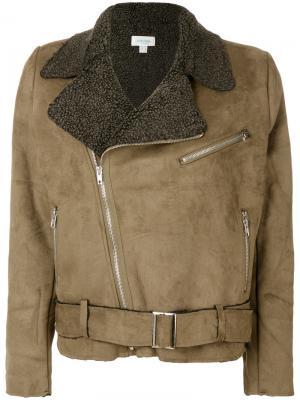 Байкерская куртка с цигейкой Jovonna. Цвет: зелёный