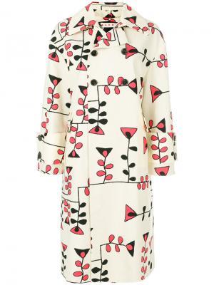 Пальто с геометрическим рисунком Marni. Цвет: телесный