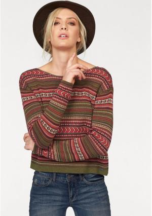 Пуловер Arizona. Цвет: хаки/оранжевый/темно-красный/цвет баклажана/телесный
