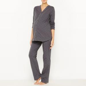 Пижама для периода беременности и грудного вскармливания COCOON. Цвет: серый/ наб. рисунок