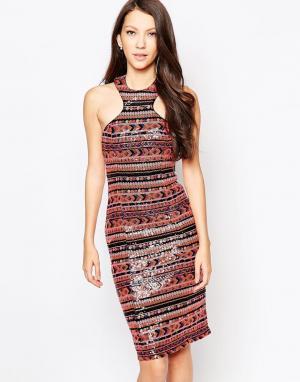 Key Collections Платье с отделкой пайетками Ashley Roberts for Liquori. Цвет: мульти