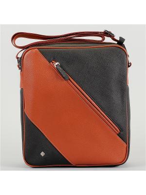 Сумка Flioraj. Цвет: черный, оранжевый, светло-оранжевый