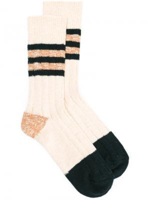 Stripe panel socks Bellerose. Цвет: телесный