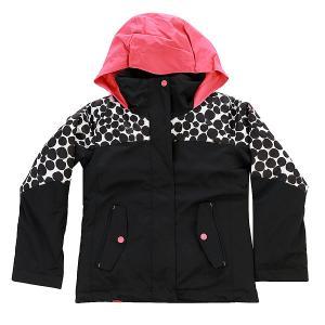 Куртка детская  Jetty Colorblock Irregular Dots True Roxy. Цвет: черный,белый,розовый