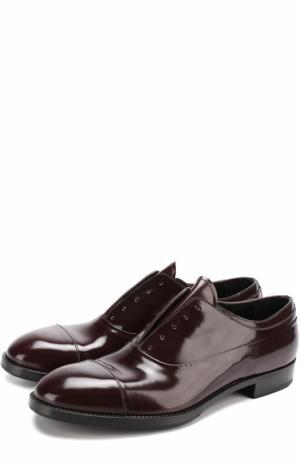 Классические кожаные оксфорды без шнуровки Premiata. Цвет: бордовый